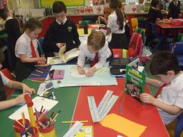 Y2 and Y3 making posters about the Ambulance Service
